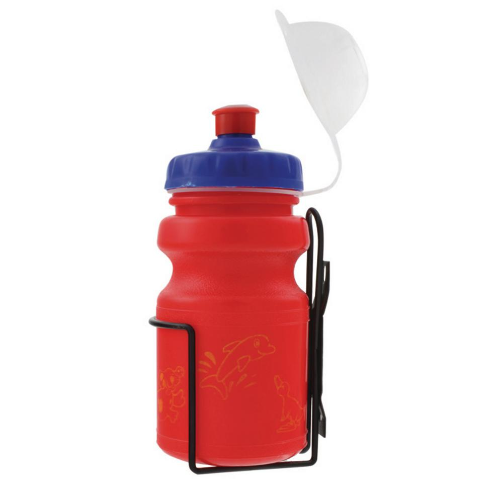 Ventura 12 oz. Red Children's Bicycle Water Bottle and Cage Set