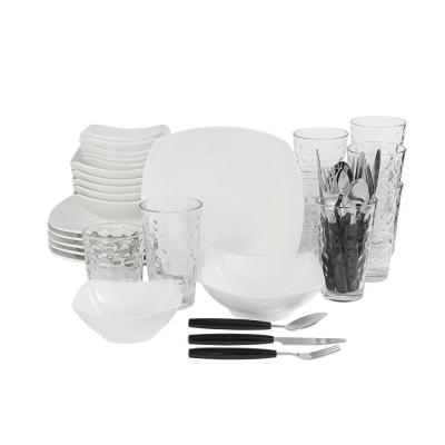 All You Need 48-Piece Modern White Porcelain Dinnerware Set (Service for 6)