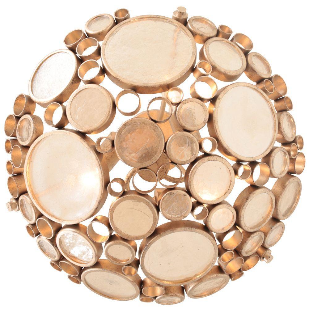 Fascination 3-Light Zen Gold Semi-Flush Mount Light with Champagne Bottle Glass