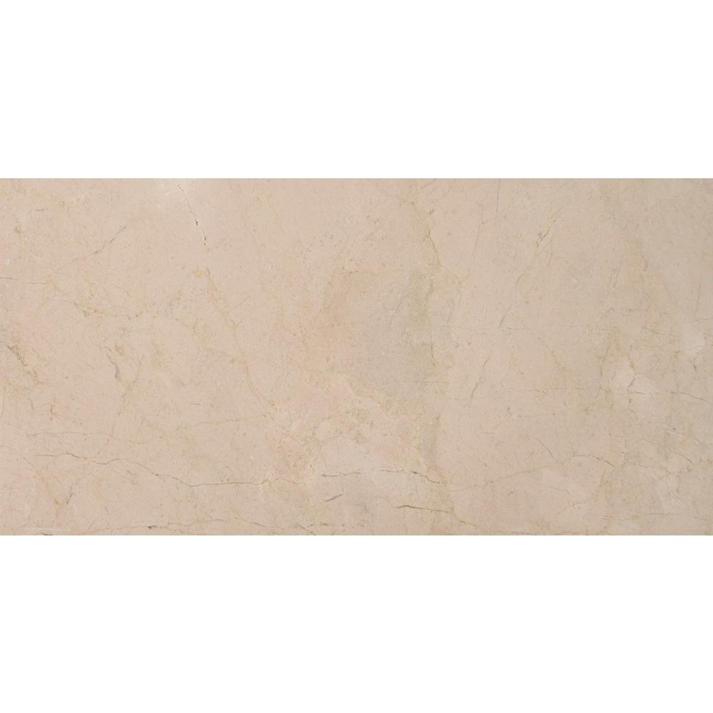 MS International Crema Marfil 4 in. x 4 in. Tumbled Marble Floor and Wall Tile (1 sq. ft. / case)