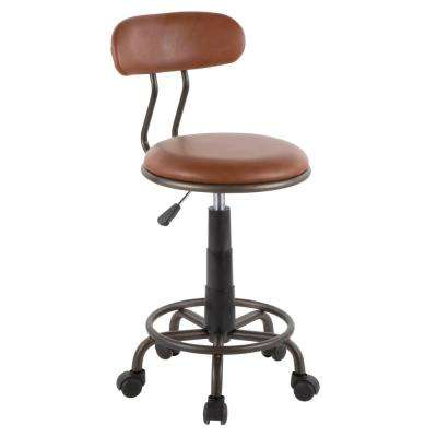 Swift Antique Metal and Brown Faux Leather Task Chair