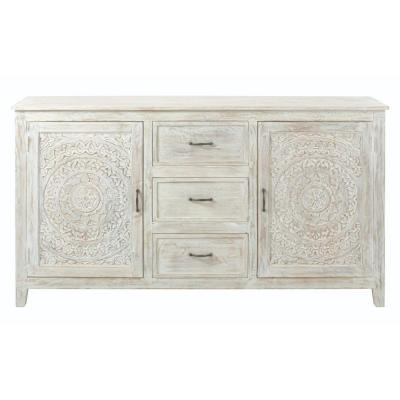 Chennai 3-Drawer White Wash Dresser