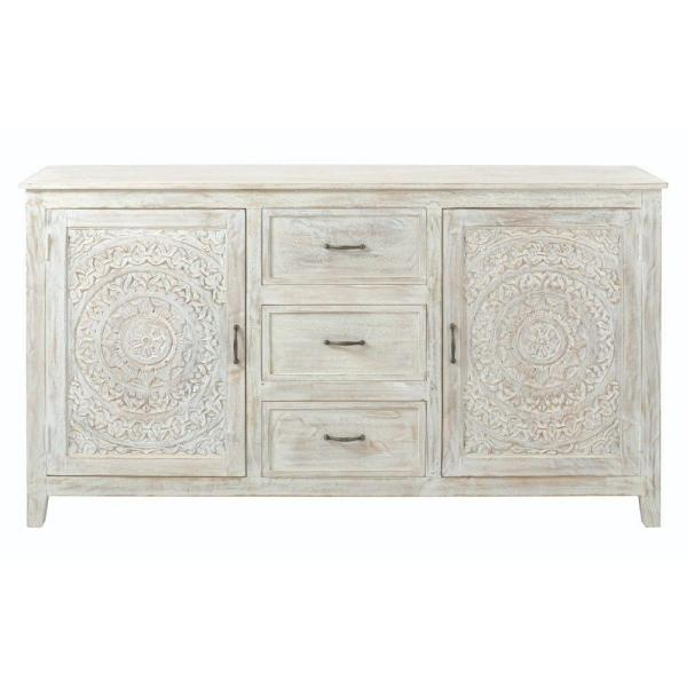 Chennai 3-Drawer White Wash Dresser