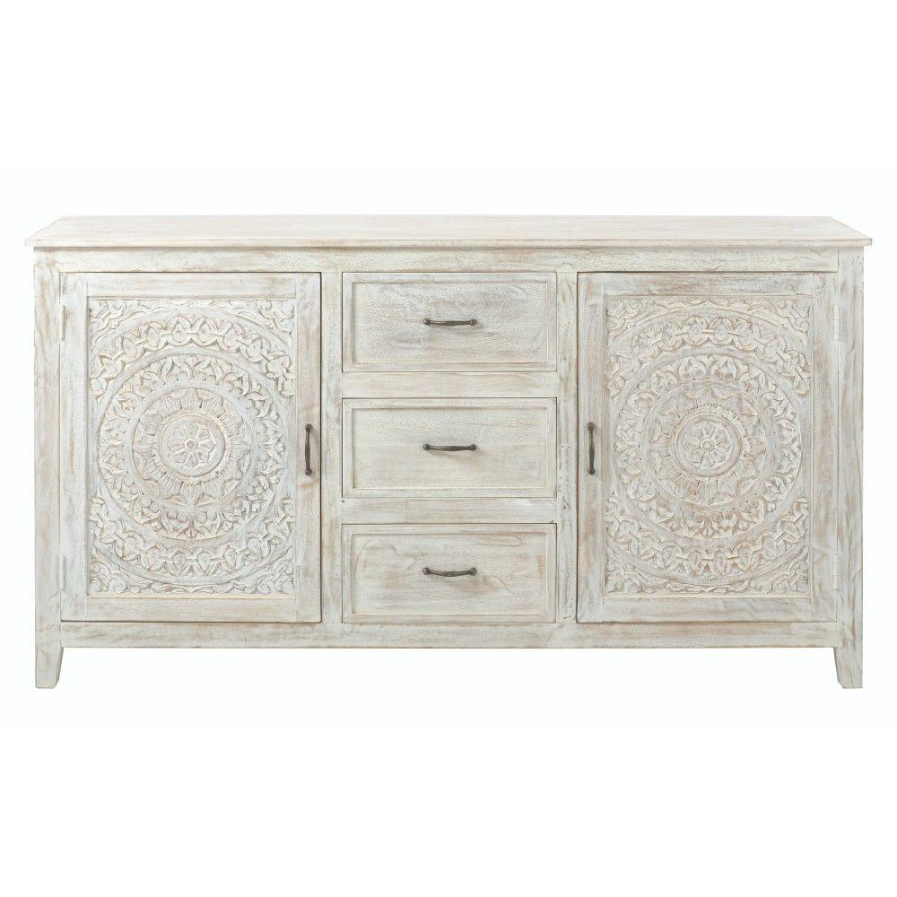 Home Decorators Collection Chennai 3 Drawer White Wash Dresser