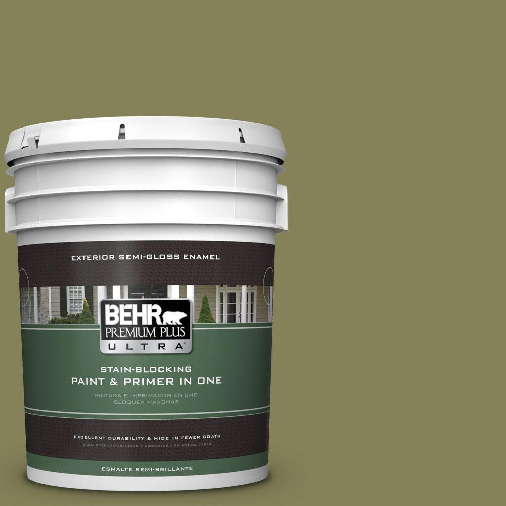 5-gal. #PMD-47 Martini Olive Semi-Gloss Enamel Exterior Paint