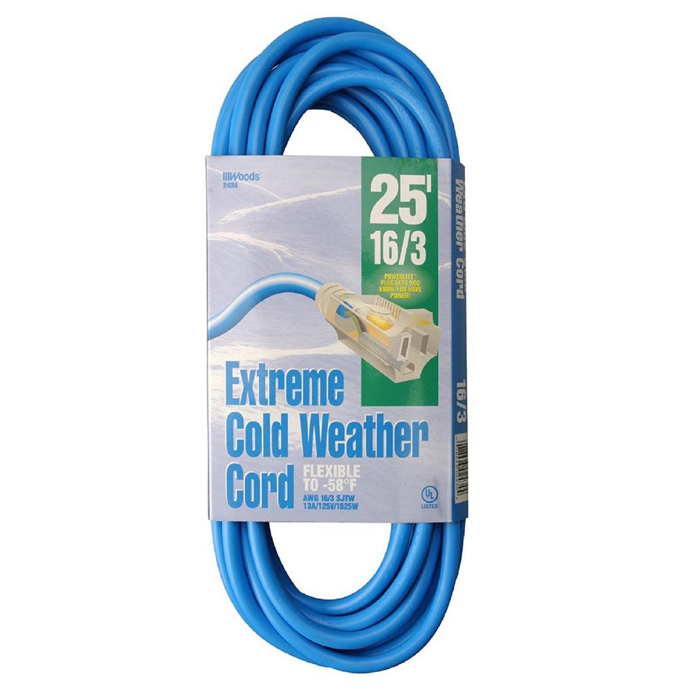 Southwire 25 ft. 16/3 SJTW Extreme Low-Temp Outdoor Light-Duty ...