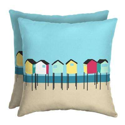 Beach Hut 16 in. Square Outdoor Throw Pillow (2-Pack)