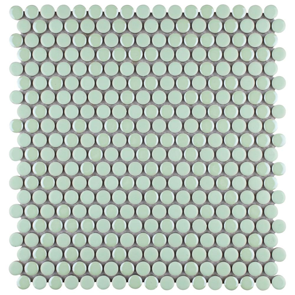 Merola Tile Galaxy Penny Round Mint 11-1/4 in. x 11-3/4 in. x 9 mm Porcelain Mosaic Tile
