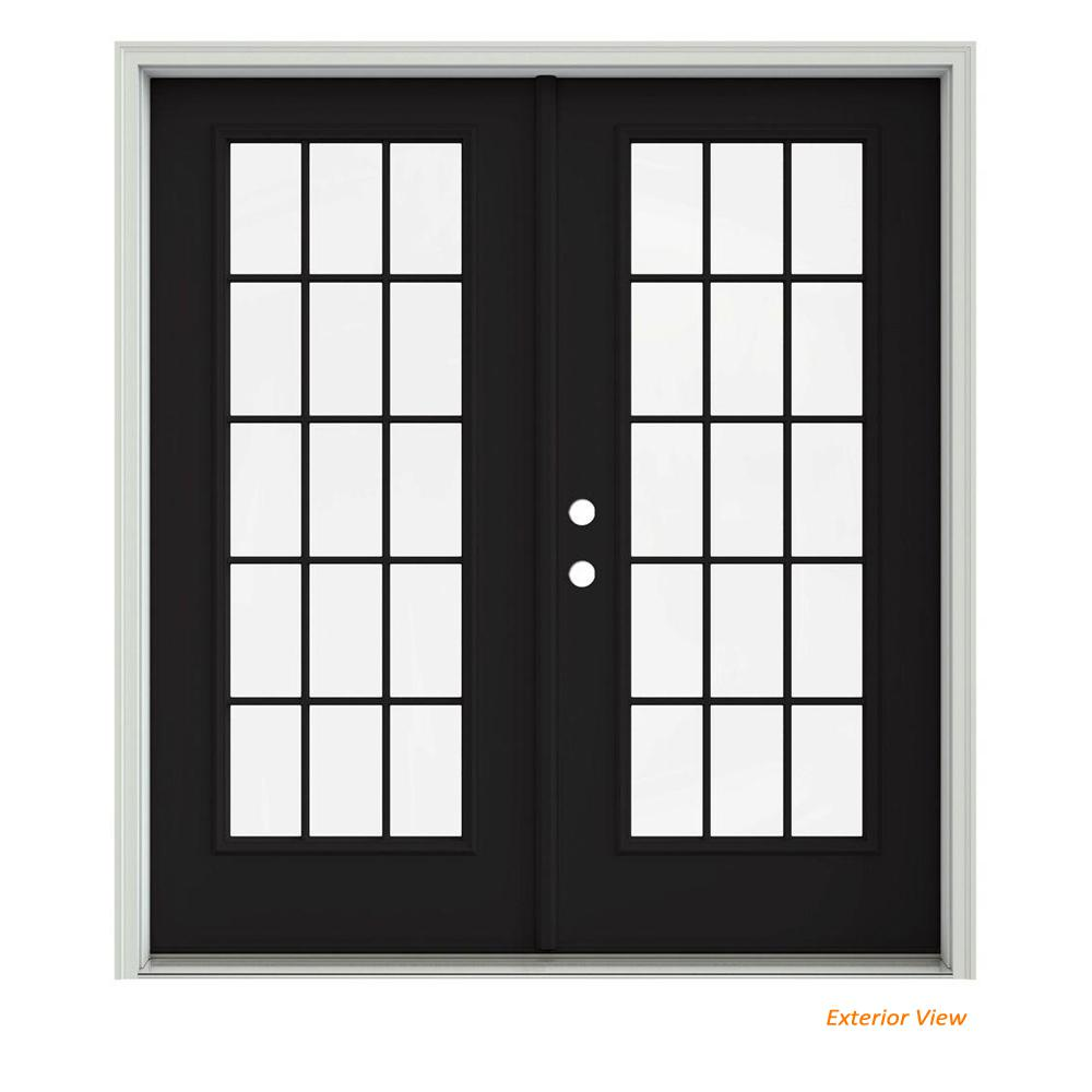 French Exterior Doors Steel: JELD-WEN 72 In. X 80 In. Black Painted Steel Right-Hand