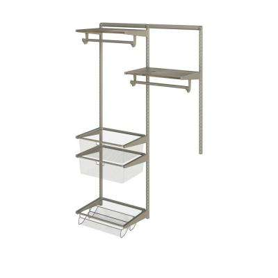 Closet Culture 16 in. D x 48 in. W x 78 in. H  with 2 Driftwood Wood Shelves Steel Closet System