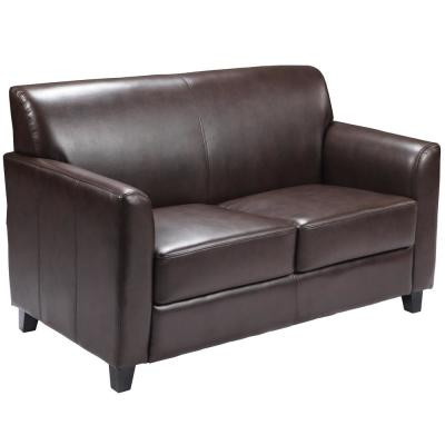 Hercules Diplomat 52 in. Brown Faux Leather 2-Seater Loveseat with Flared Arms