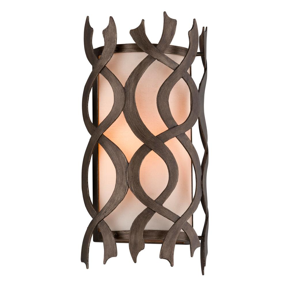 Troy Lighting Mai Tai 1-Light Cottage Bronze Wall Sconce with Natural Linen Glass Shade