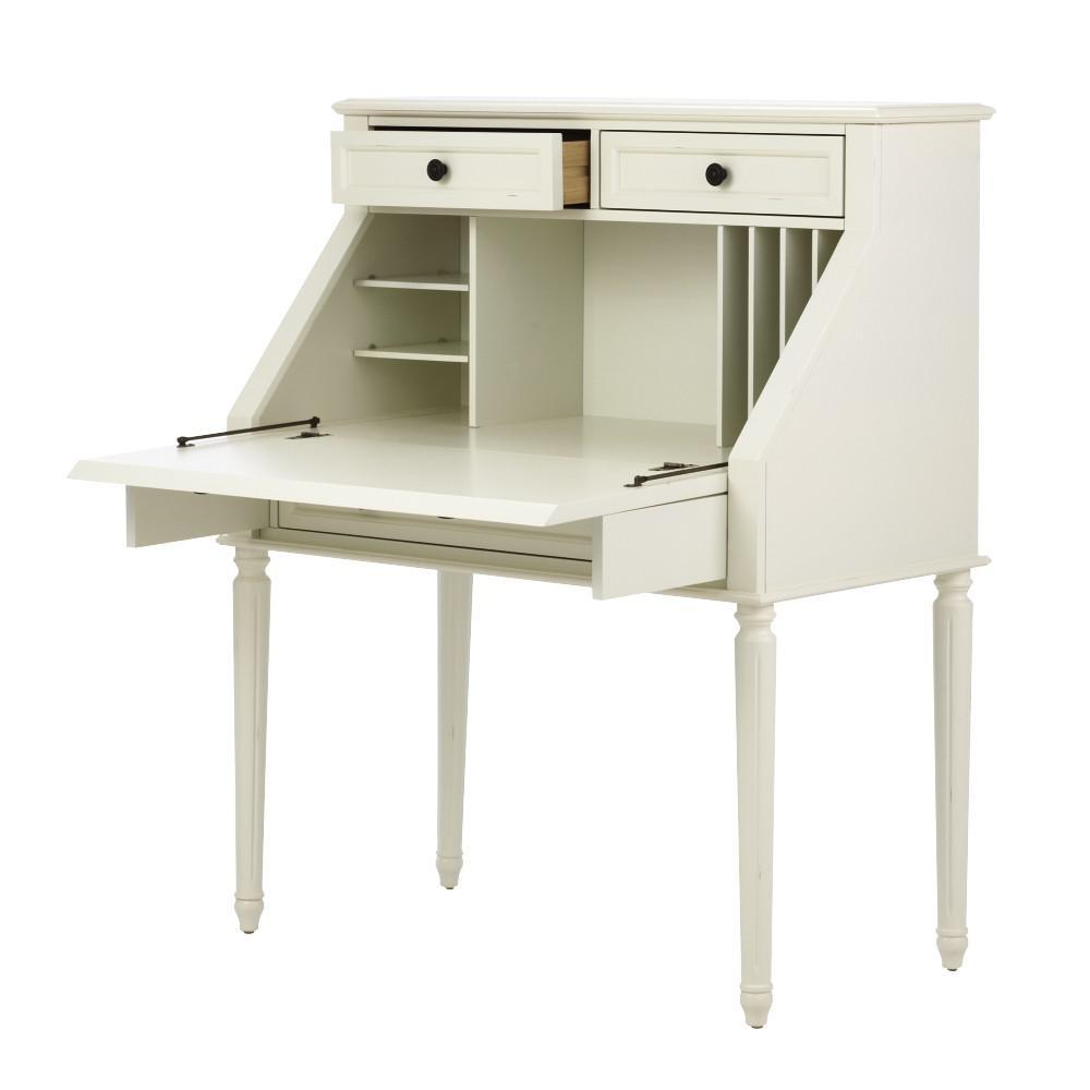 Internet #301133219. Martha Stewart Living Ingrid Rubbed Ivory Desk