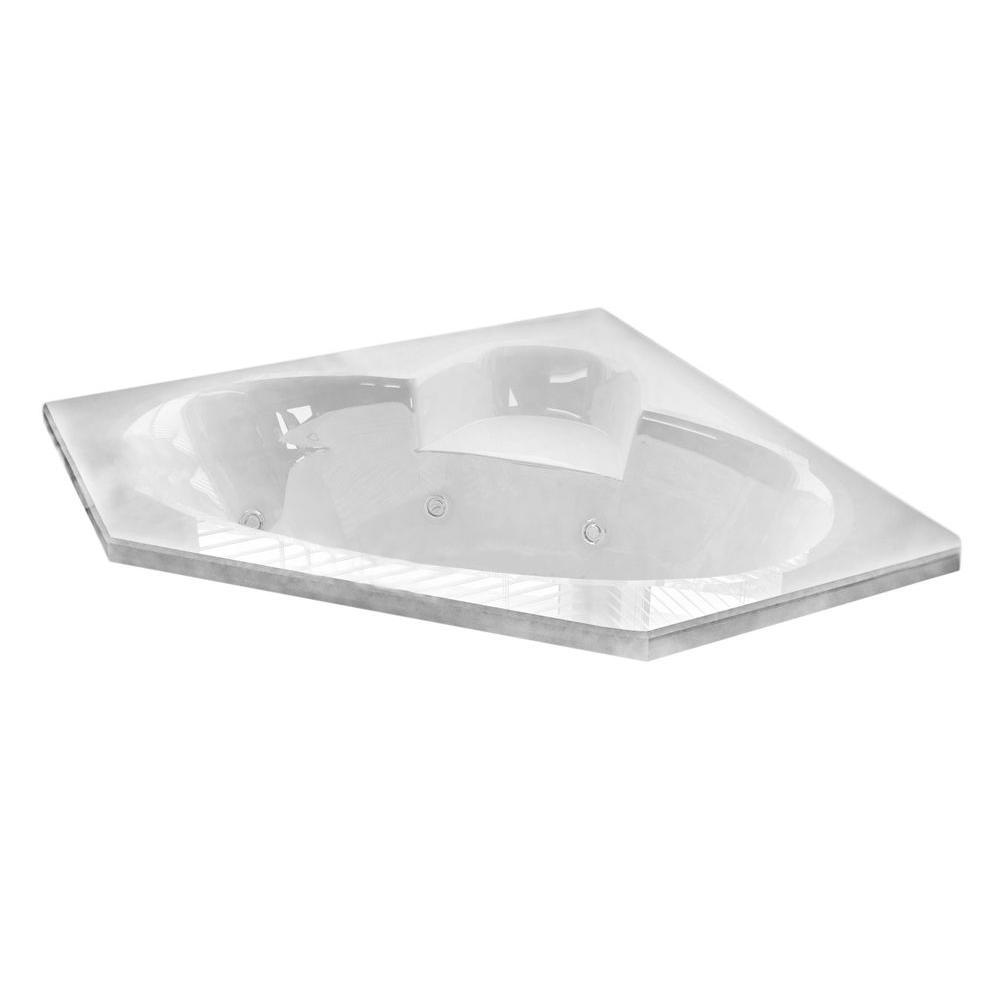 Universal Tubs Malachite Diamond 5 ft. Acrylic Corner Drop-in Whirlpool Air Bathtub in White