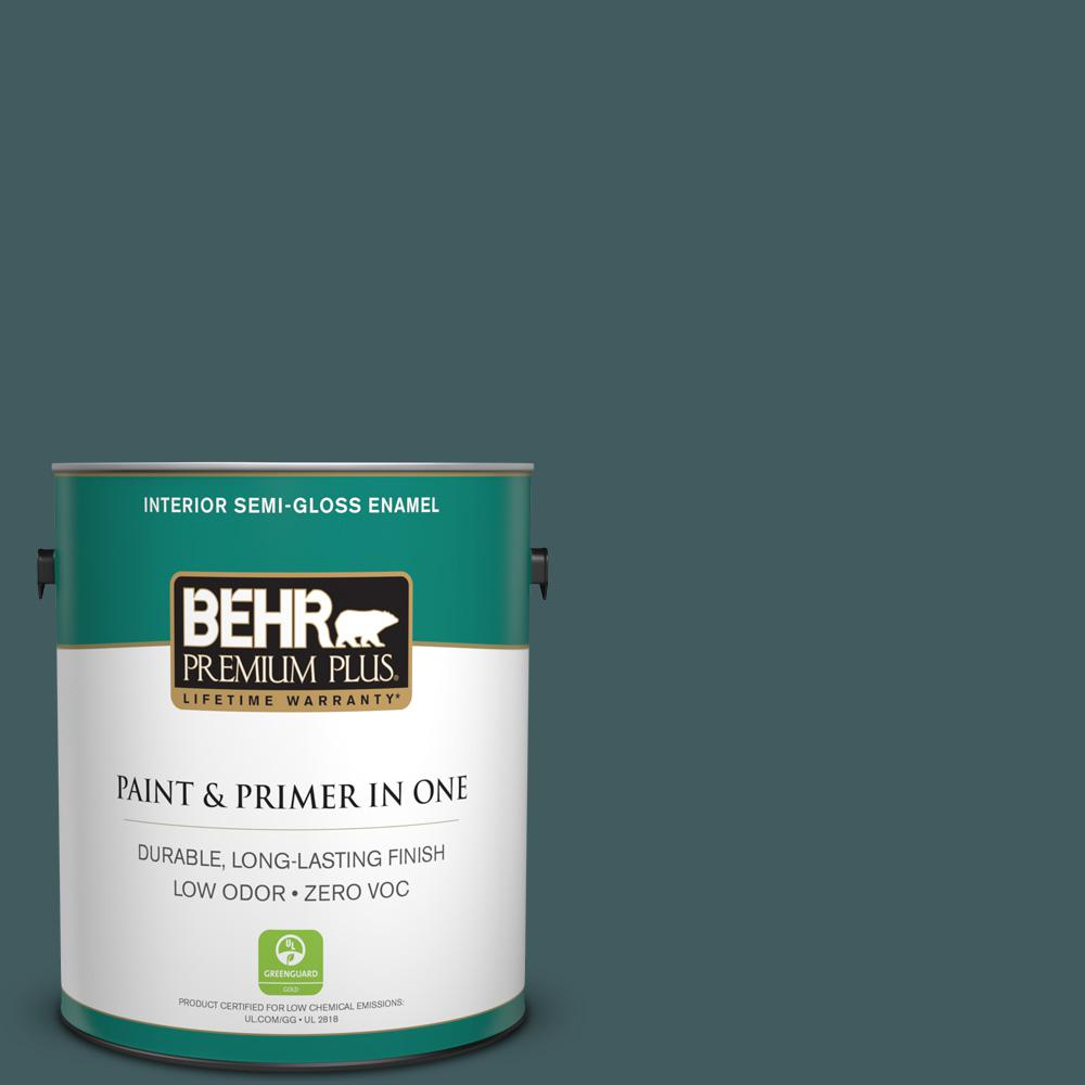 BEHR Premium Plus 1-gal. #BXC-15 Green Mallard Semi-Gloss Enamel Interior Paint