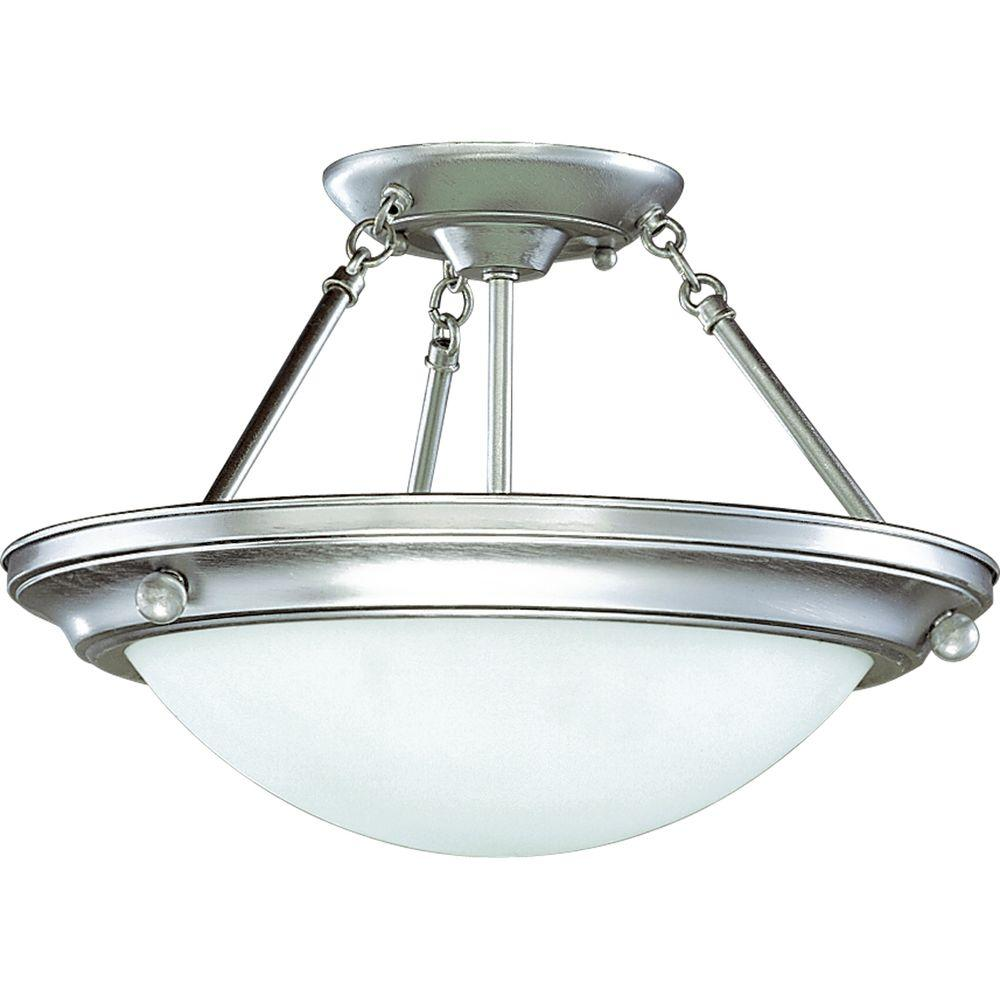 Progress Lighting Eclipse Collection 2-Light Brushed Steel Semi-Flushmount-DISCONTINUED
