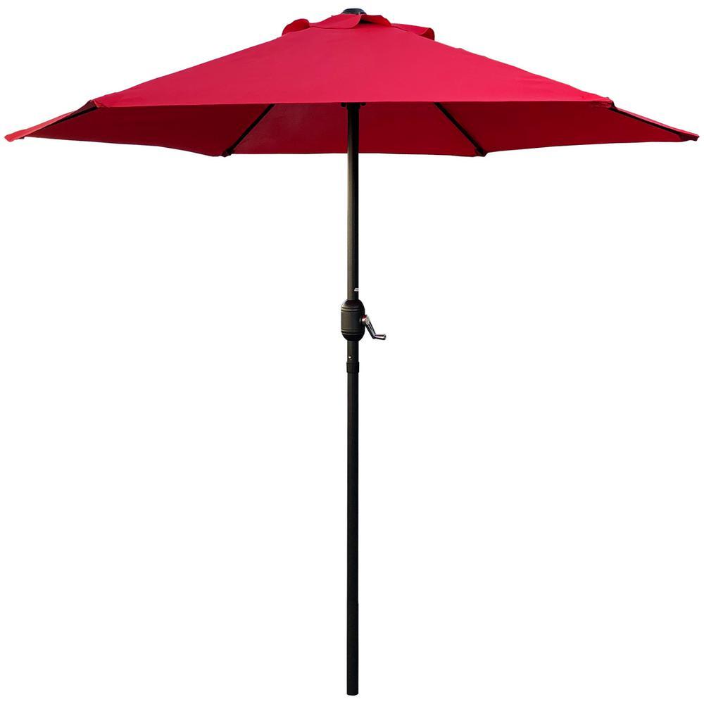 7.5 ft. Steel Crank Market Patio Umbrella in Red