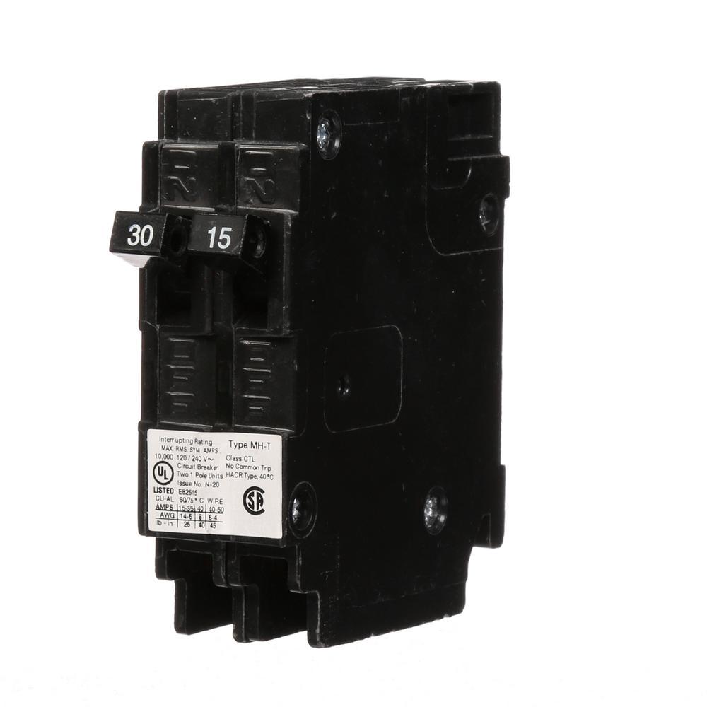 murray (2) 15 amp double pole type mp t quad plug in circuit  single pole type qt circuit breaker