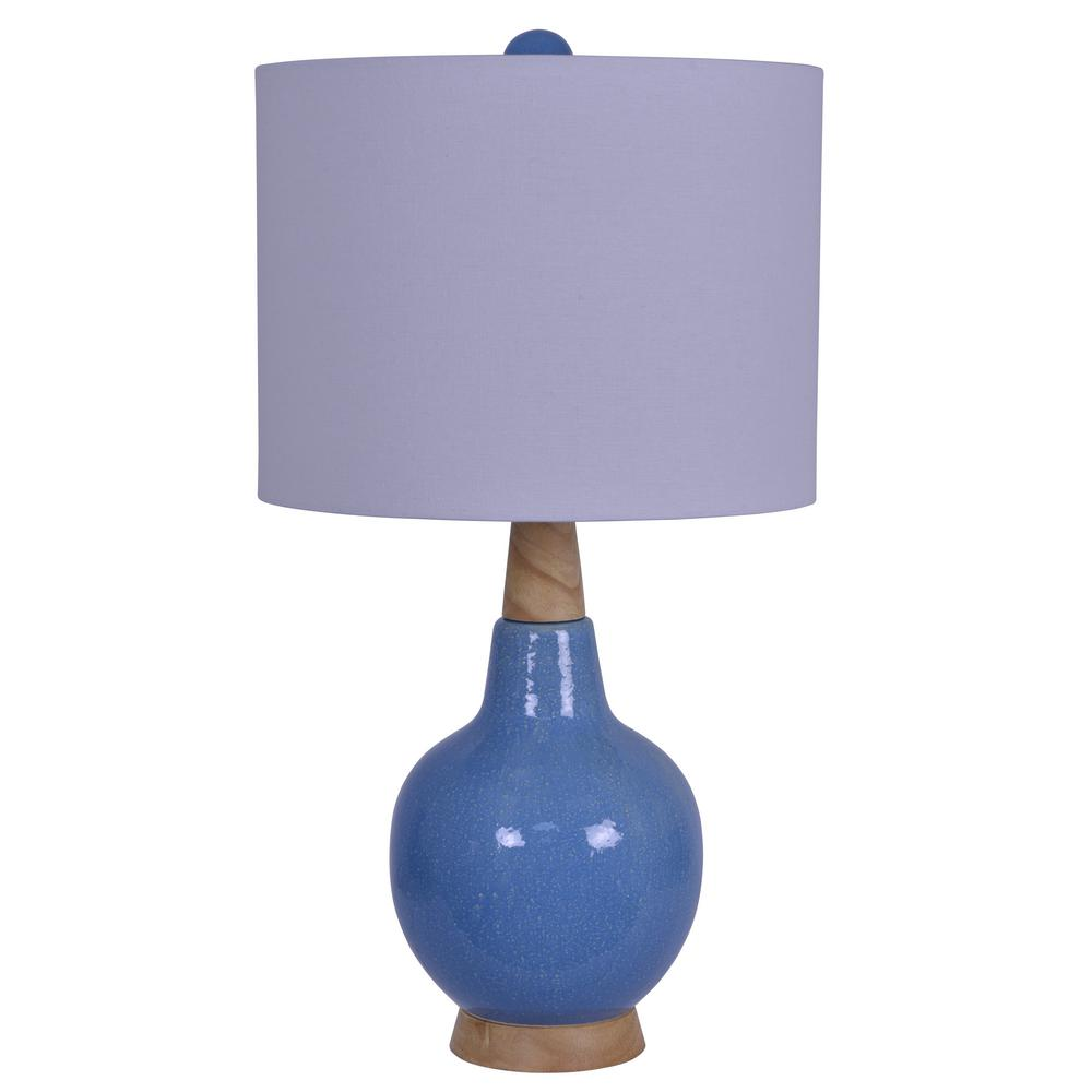 Decor Therapy Sawyer Speckled 23.5 In. Blue Table Lamp With Linen Shade