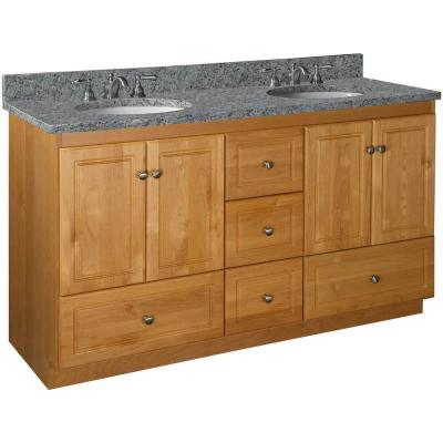 Ultraline 60 in. W x 21 in. D x 34.5 in. H Vanity for Double Basins Cabinet Only in Natural Alder