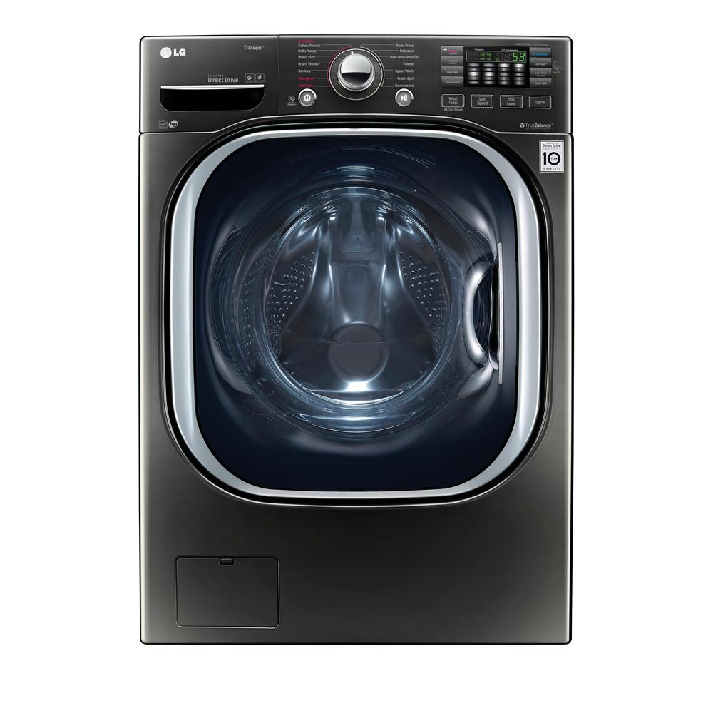 LG Electronics 4.5 cu. ft. High-Efficiency Front Load Washer with Steam and TurboWash in Black Stainless Steel, ENERGY STAR