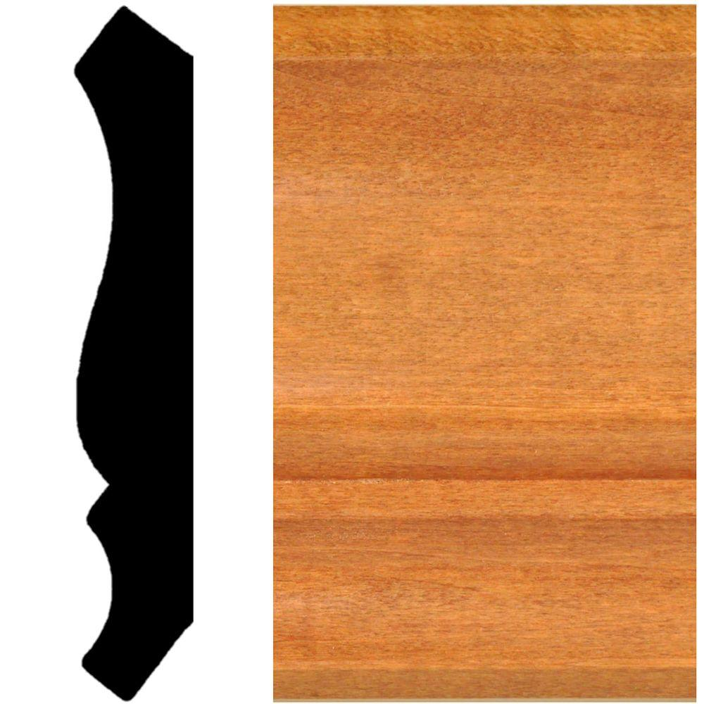 null 3/4 in. x 4-1/2 in. x 8 ft. Hardwood Stained Cherry Crown Moulding