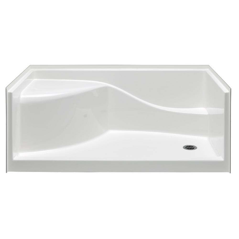 Wonderful Aquatic Coronado 60 In. X 30 In. Single Threshold Acrylx Applied Acrylic Shower  Pan