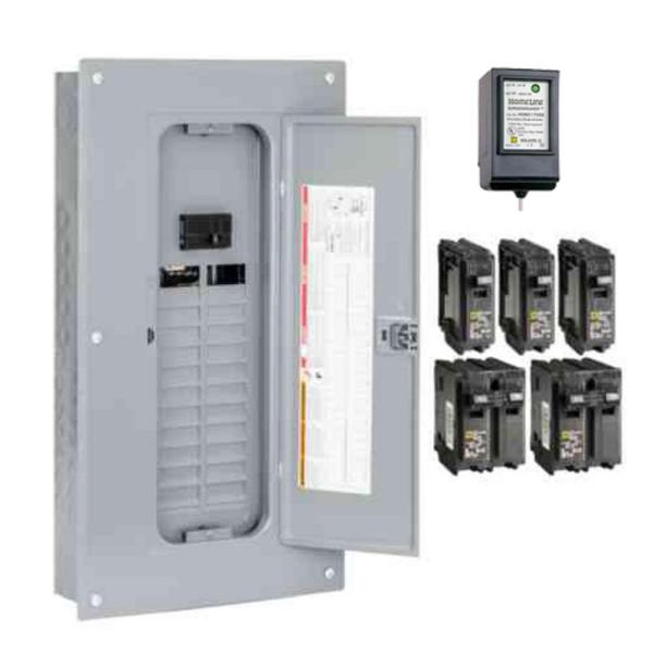 Homeline 100 Amp 24-Space 48-Circuit Indoor Main Breaker Plug-On Neutral Load Center with Cover, Surge SPD - Value Pack