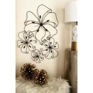 32 inch x 26 inch New Traditional Black Iron Flower Petal Montage Wall Decor by