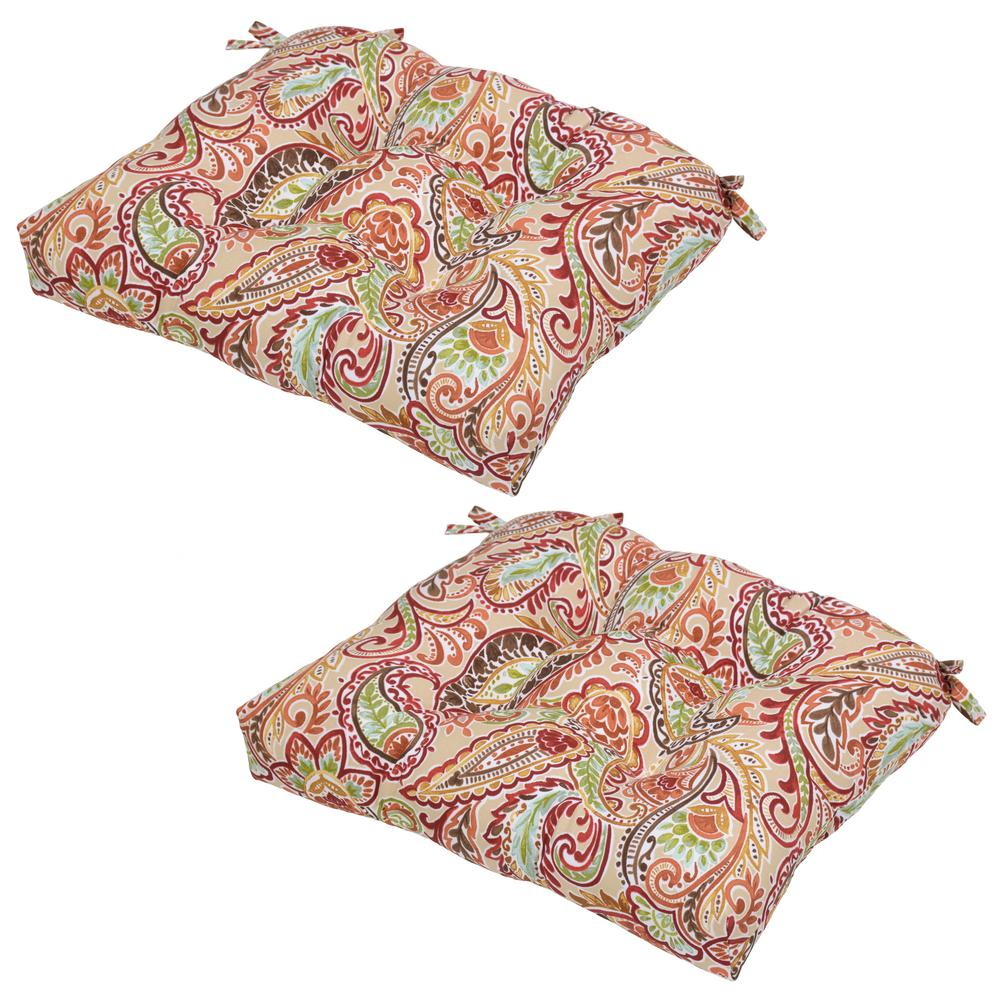Null Chili Paisley Outdoor Seat Cushion (2 Pack)