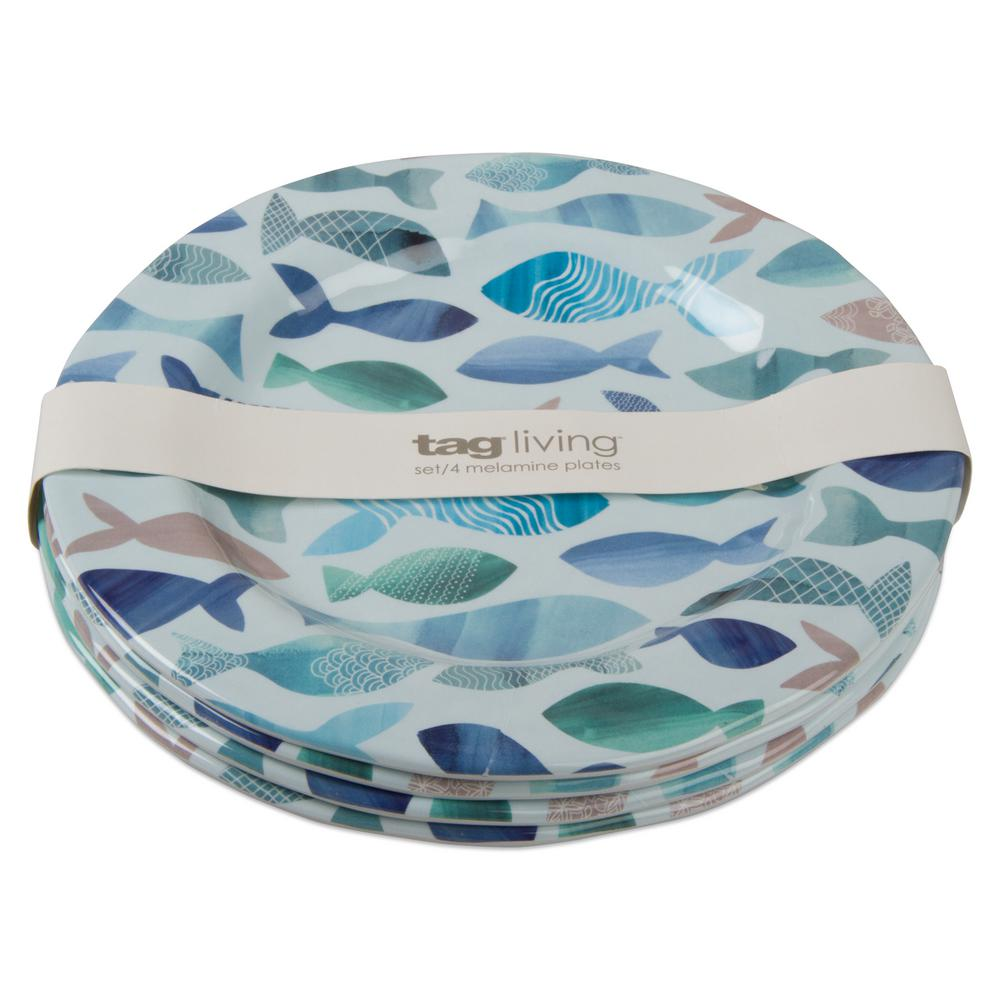 Tag 9 in. Fish Design Melamine Salad Plate (Set of 4)  sc 1 st  The Home Depot : tag tableware - pezcame.com