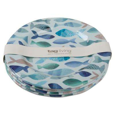 9 in. Fish Design Melamine Salad Plate (Set of 4)