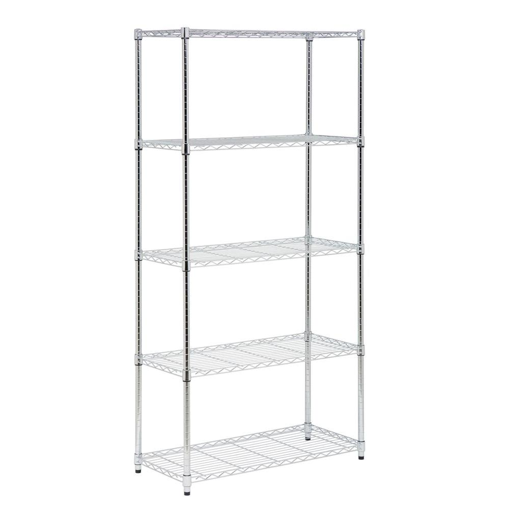 Honey-Can-Do 72 in. H x 36 in. W x 16 in. D 5-Shelf Steel Shelving Unit in Chrome (Grey) Create visible, accessible storage space instantly with the Honey-Can-Do 5-Shelf Steel Shelving Unit featured in a powder-coated chrome finish. A durable construction and 72 in. steel frame makes this unit the perfect blend of style and functionality. Durable enough for the mudroom, garage, or commercial kitchen, this NSF-rated shelving is also ideal for food equipment areas, including refrigerators, freezers and ware washing areas and is capable of withstanding up to 350 lbs. per shelf. Adjustable shelves and stackable components allow you to change the configuration as your storage needs evolve. Combine multiple units to create a customized storage wall. The no-tool assembly allows you to construct in minutes a shelving unit that will last for years.