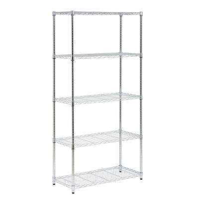 72 in. H x 36 in. W x 16 in. D 5-Shelf Steel Shelving Unit in Chrome