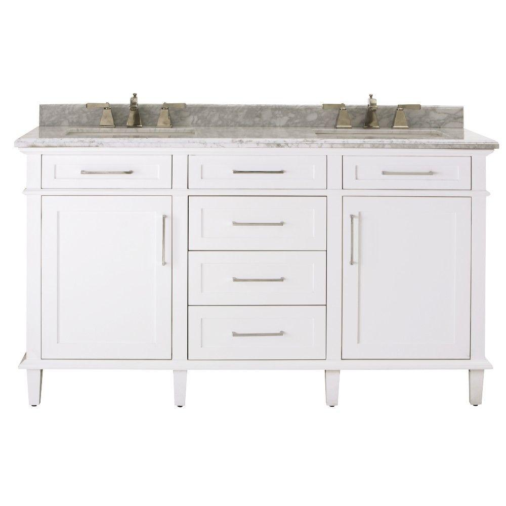D Double Bath Vanity in White with. Double Sink   Vanities with Tops   Bathroom Vanities   The Home Depot