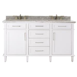 Home Decorators Collection Sonoma 60 inch W x 22 inch D Double Bath Vanity in White with... by Home Decorators Collection