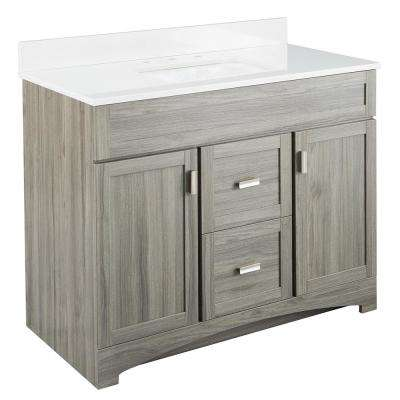Carolo 43 in. W x 21.75 in. D Vanity Cabinet in Grey Oak with Engineered Stone Vanity Top in White with White Basin