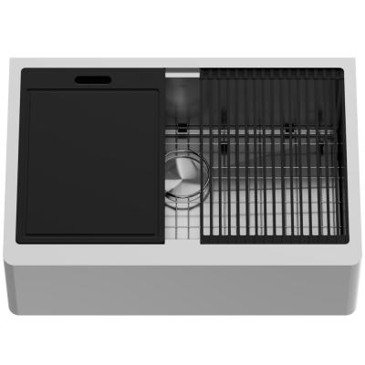 Oxford Stainless Steel 30 in. Single Bowl Flat Farmhouse Apron-Front Workstation Kitchen Sink with Accessories
