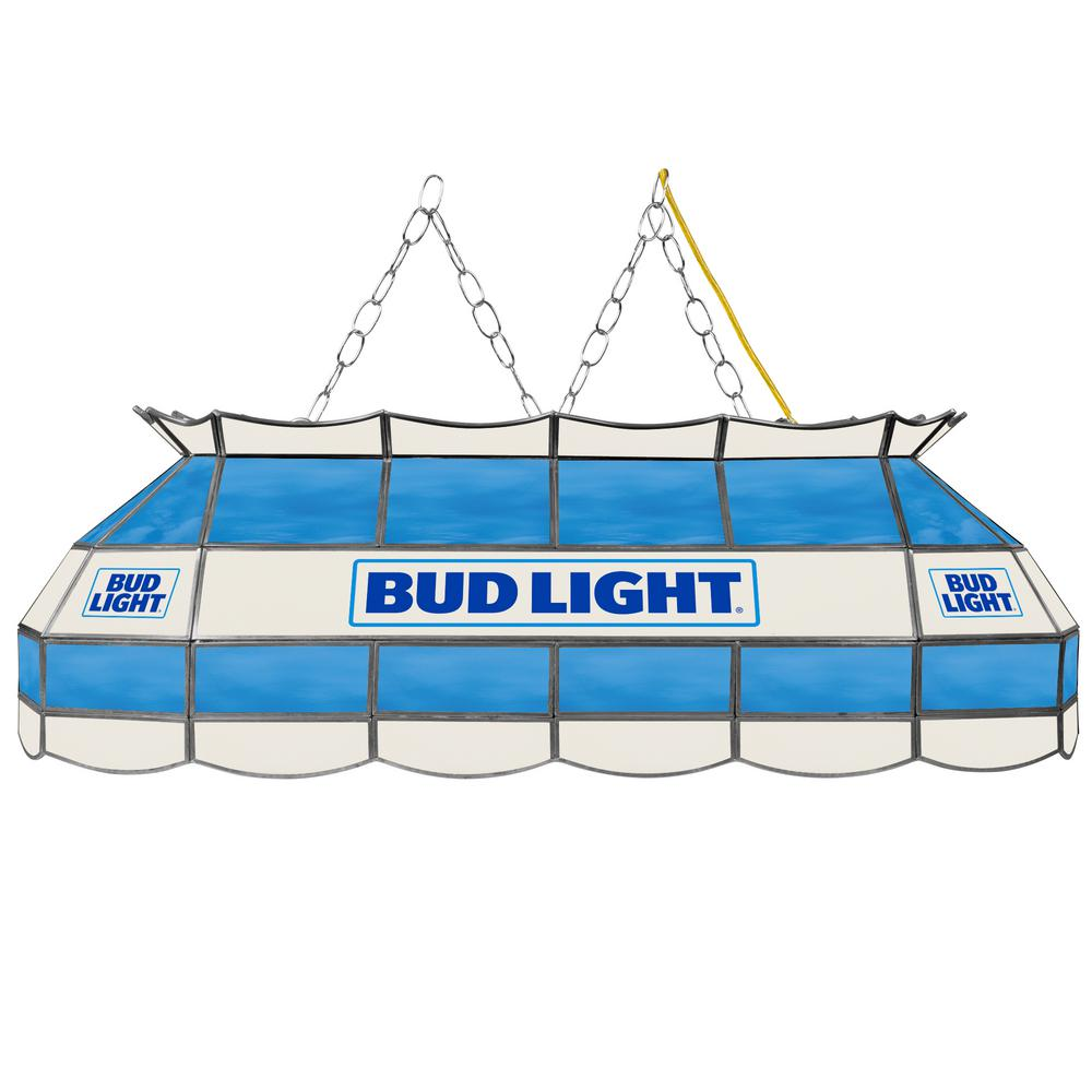 Budweiser 40 Inch Stained Glass Pool Table Light: Trademark Global Bud Lamp 3-Light Stained Glass Hanging