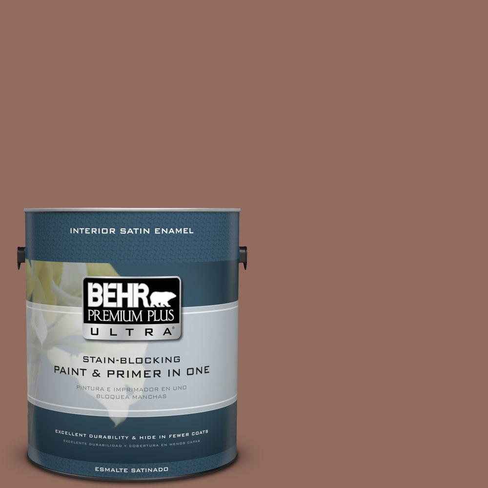 1 gal. #220F-6 Chocolate Curl Satin Enamel Interior Paint and Primer