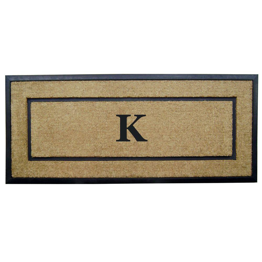 Nedia Home DirtBuster Single Picture Frame Black 24 in. x 57 in. Coir with Rubber Border Monogrammed K Door Mat