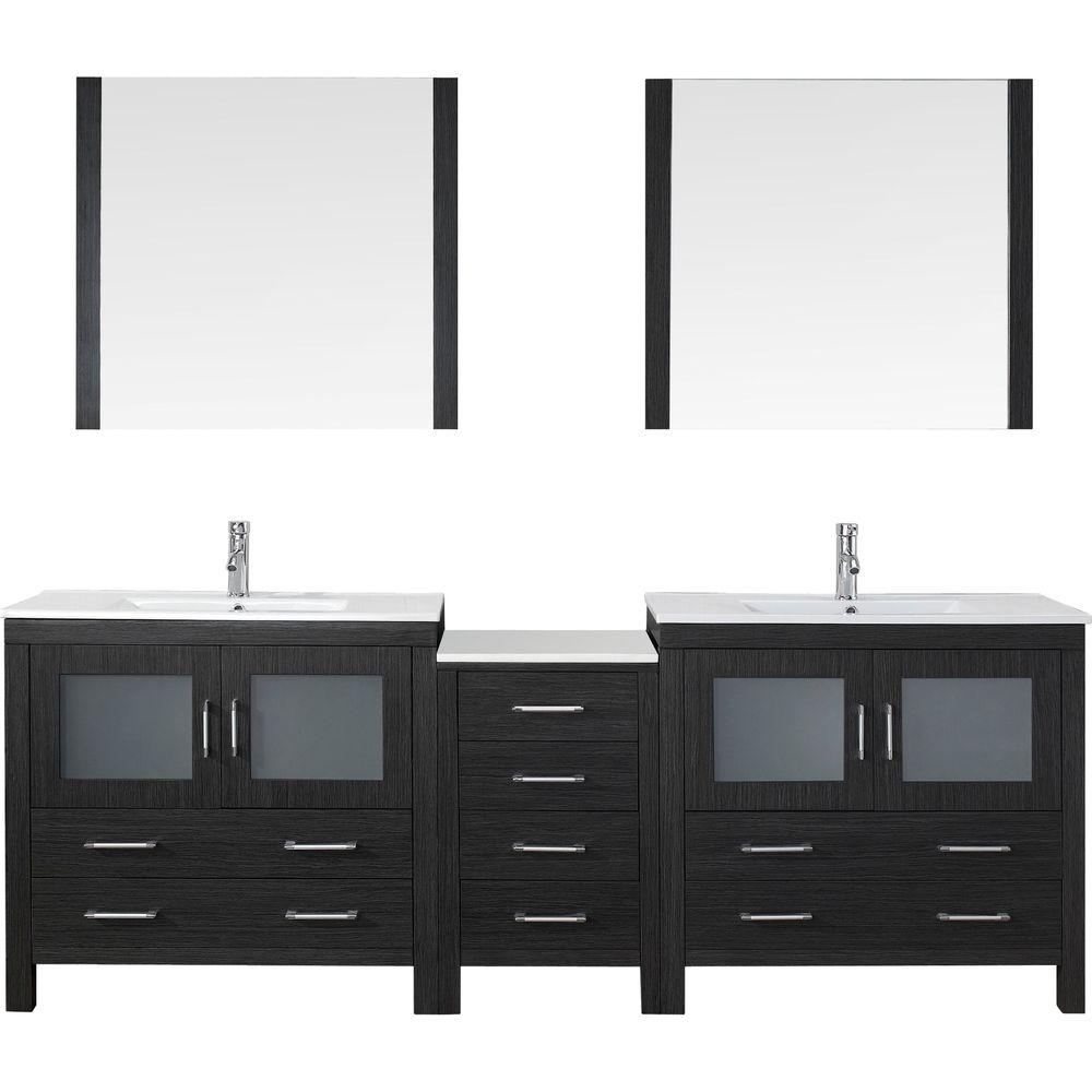 Dior 90 In W Bath Vanity Zebra Gray With Ceramic Top White Square Basin And Mirror Faucet