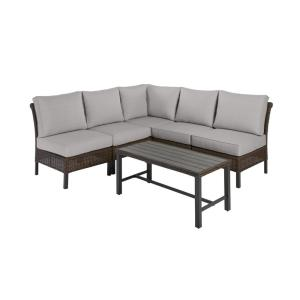 Harper Creek 6-Piece Brown Steel Outdoor Patio Sectional Sofa Seating Set with CushionGuard Stone Gray Cushions