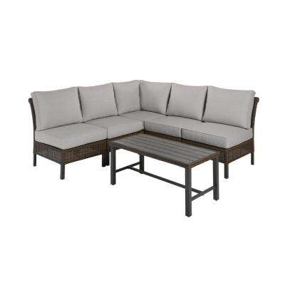 Harper Creek Brown 6-Piece Steel Outdoor Patio Sectional Sofa Seating Set with CushionGuard Stone Gray Cushions