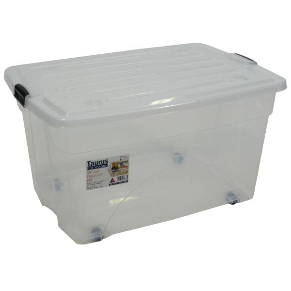 Taurus 16 Gal. Rolling Storage Tote with Snap on Lid in Clear