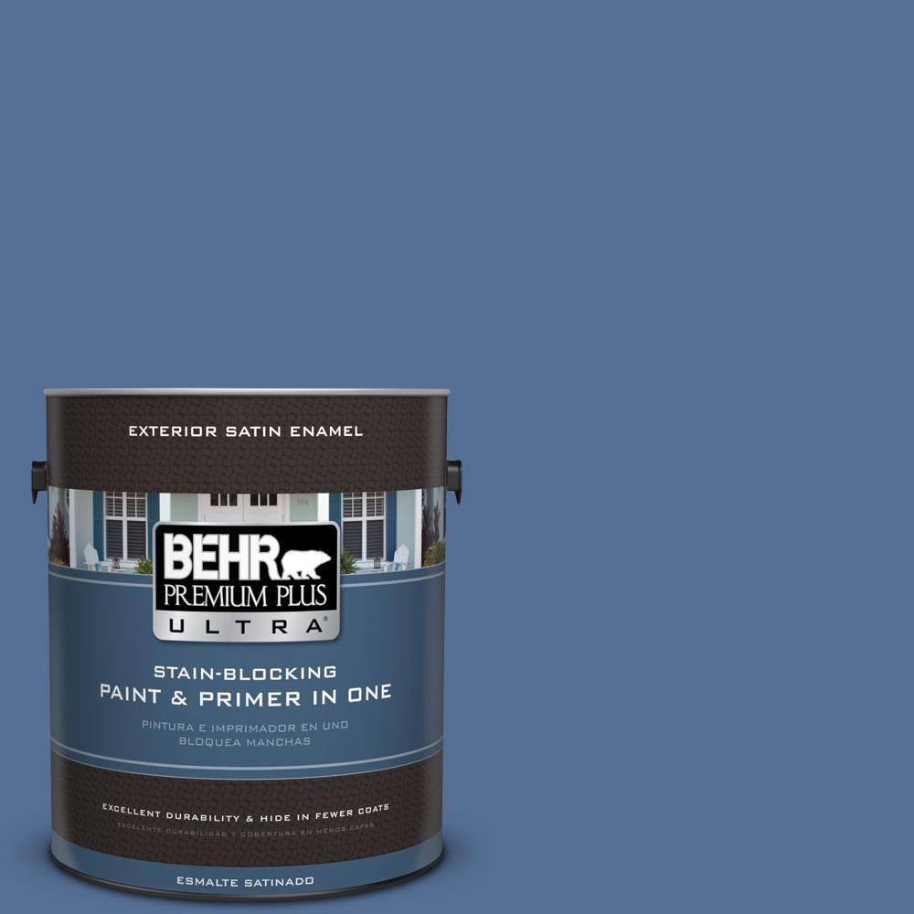 BEHR Premium Plus Ultra 1-gal. #M530-6 Charter Blue Satin Enamel Exterior Paint, Blues