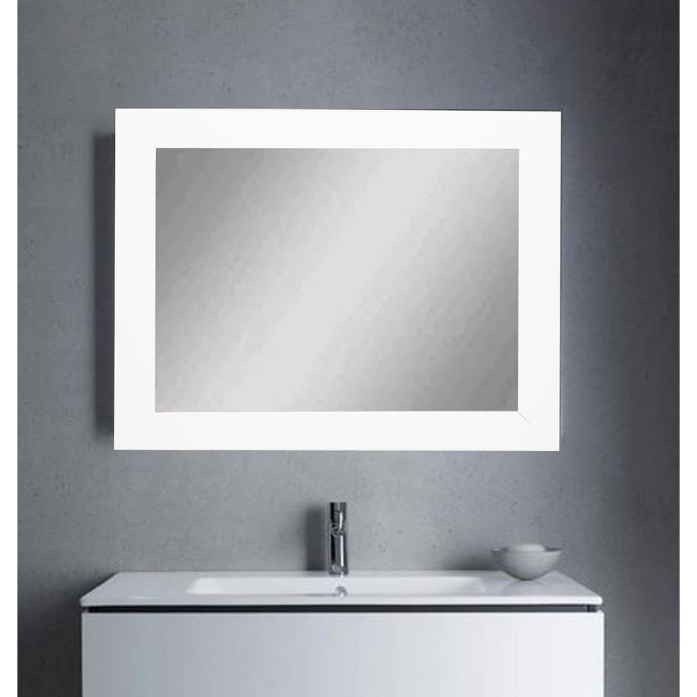 32 in. x 38 in. Framed Single Wall Mirror in Matte White