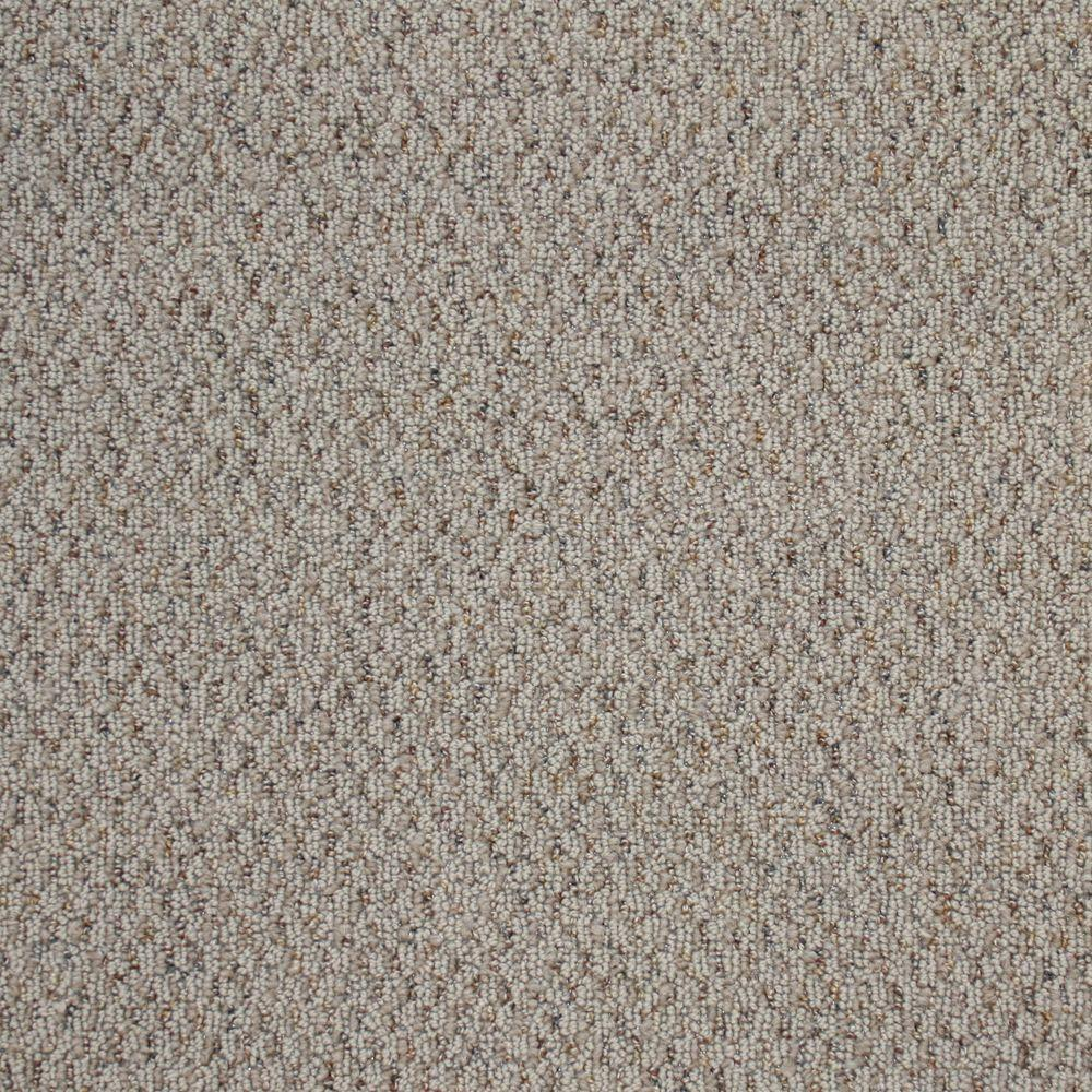 TrafficMASTER Big Picture - Color White Pewter Textured Berber 12 ft. Carpet