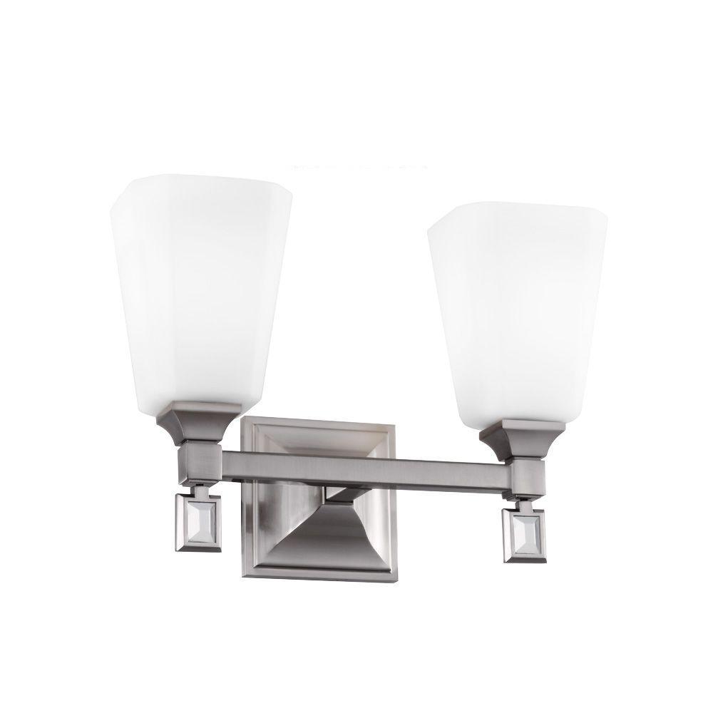 Sophie 2-Light Brushed Steel Vanity Light