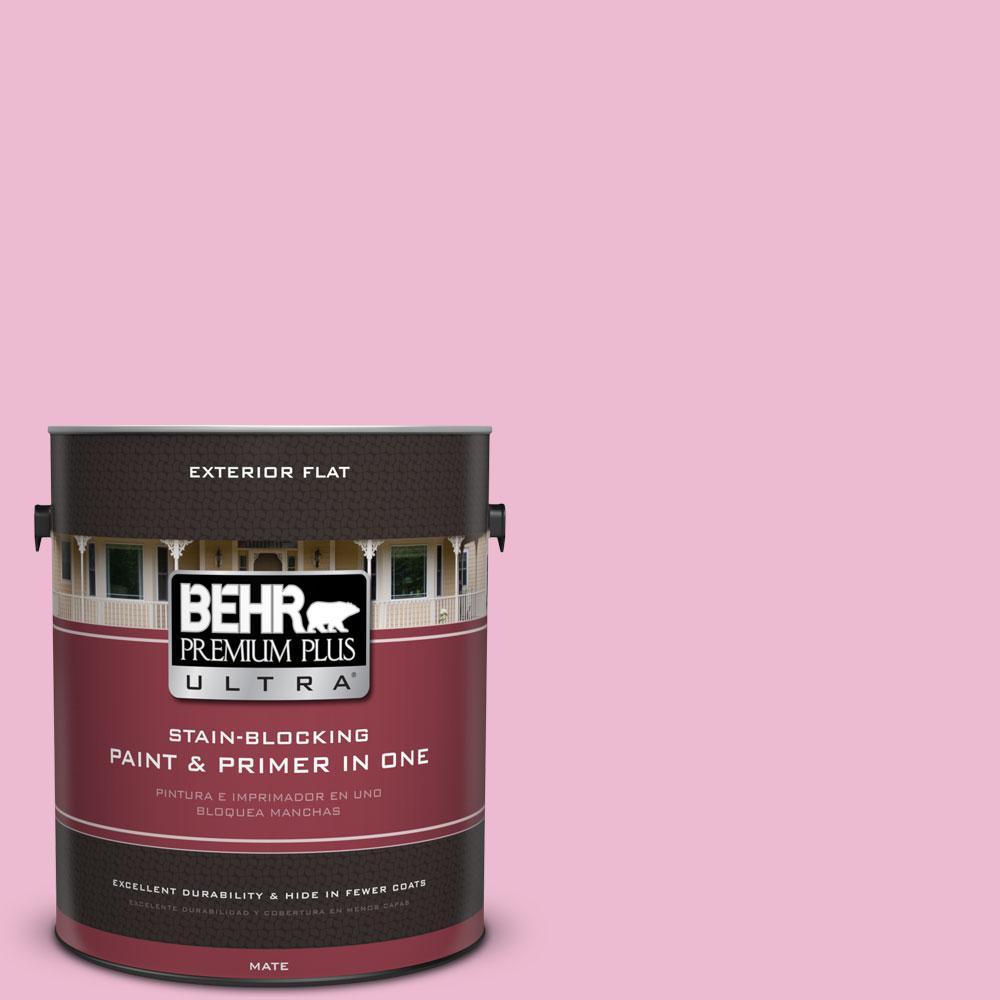 BEHR Premium Plus Ultra 1-gal. #P130-2 Pink Innocence Flat Exterior ...